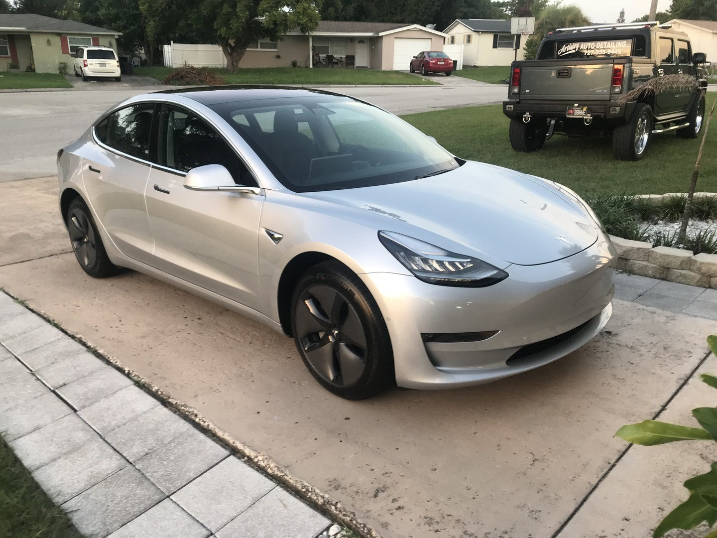 Silver 2018 Tesla Model 3 coated with Crystal Serum Ultra