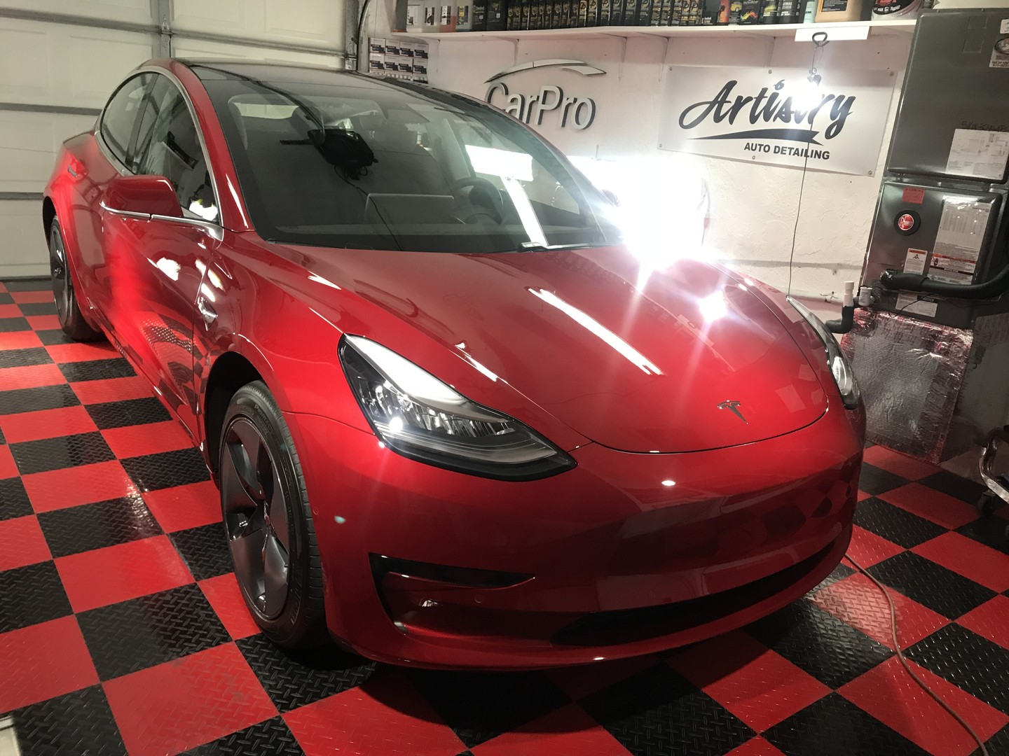 2018 Tesla Model 3 coated with Gtechniq Crystal Serum Ultra